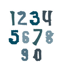 Creative handwritten colorful numbers set from 0 to 10, vector g