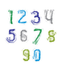 Freak colorful graffiti digits, set of vector unusual numbers dr