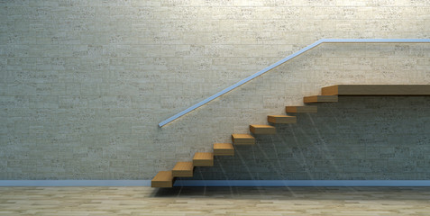 Wood stairs in empty interior