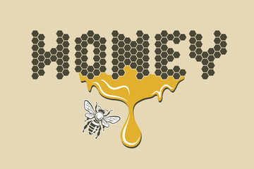 design with bee and of honeycomb