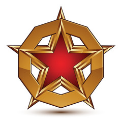 Branded golden geometric symbol, stylized red star with golden b