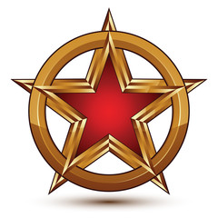 Refined vector red star emblem with golden borders, 3d pentagona