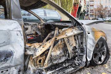 Completely burnt car