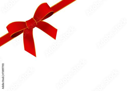 kokardka, prezent, czerwona, wstążka
