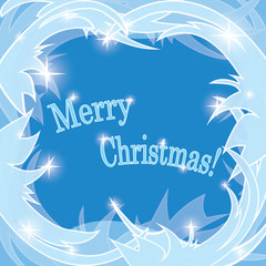 blue frosty background - merry christmas - vector