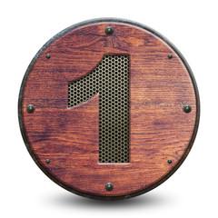 Plaque en bois et métal - Chiffre 1