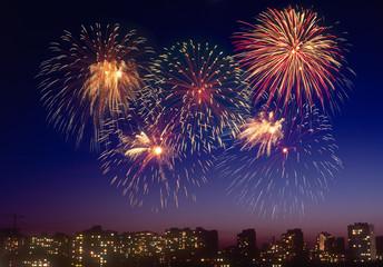 Firework over a city.