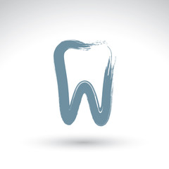 Hand drawn simple tooth icon, real ink brush drawing tooth symbo