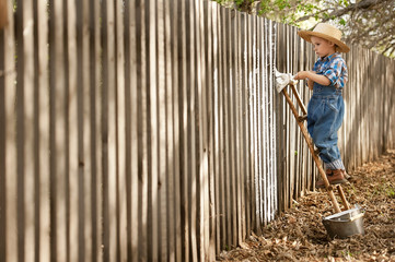 Boy paint old fence