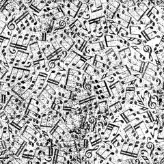 Vector black worn seamless pattern, striped musical notes and tr