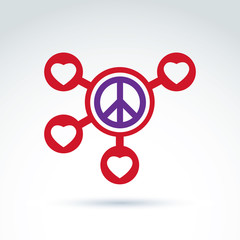 Round antiwar and love vector connected icons, peace and loving
