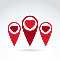 Vector map pointer with a loving heart icon. Place location symb