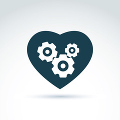 Gears and cogs in a shape of heart system theme icon, heart of m