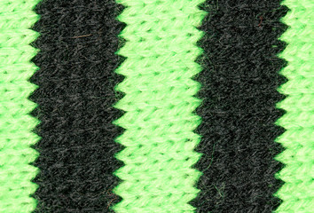 Knitted black and green fabric