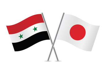 Japanese and Syrian flags. Vector illustration.