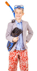 kid businessman wearing fins, snorkel and goggles