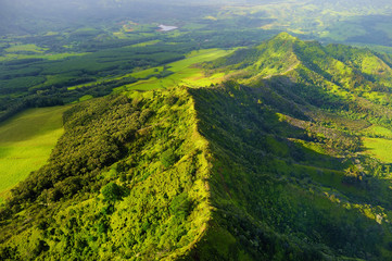 Aerial view of green fields on Kauai, Hawaii
