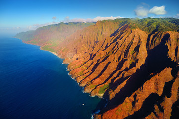 Beautiful aerial view of Na Pali coast