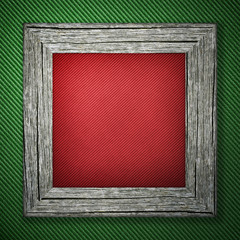 Green background with striped pattern and wooden frame