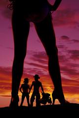 silhouette woman in bikini heels legs one turned to side western