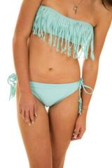woman blue fringy bikini body arms down