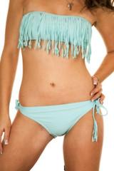 woman blue fringy bikini body hand hip