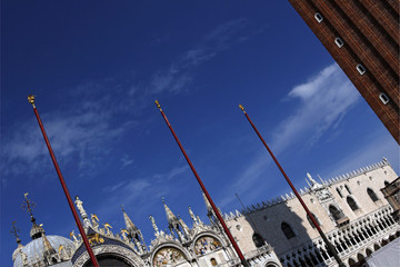 Diagonal view of St Mark's cathedral and Doge's Palace, Venice
