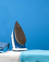 blue iron on blue background