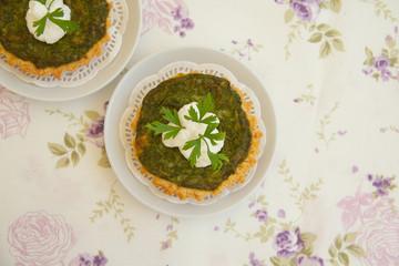 Homemade mini spinach and ricotta tarts