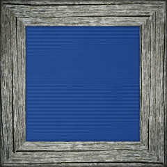 Old frame with blue canvas