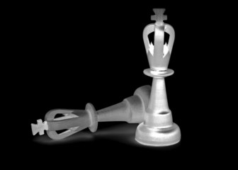 Two chess king isolated on black background
