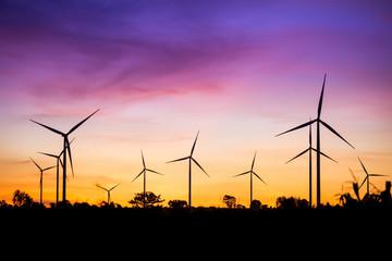 Wind turbine power generator at twilight