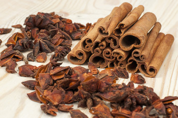 stars of anise and cinnamon on wooden table