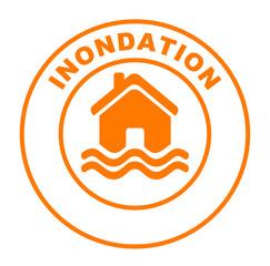 inondation de la maison sur bouton web rond orange