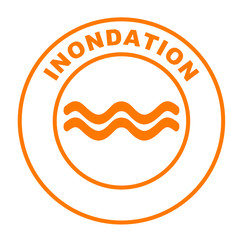 inondation sur bouton web rond orange