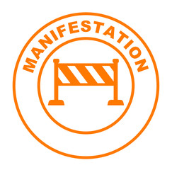 manifestation sur bouton web rond orange