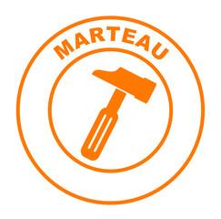 marteau sur bouton web rond orange