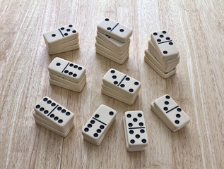 Dominoes Stacked In Piles