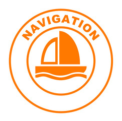 navigation sur bouton web rond orange
