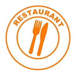 restaurant couteau fourchette sur bouton web rond orange