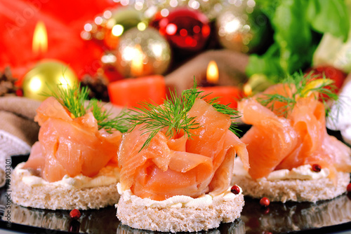 Foto op Canvas Vis Holiday appetizer with salmon canapes