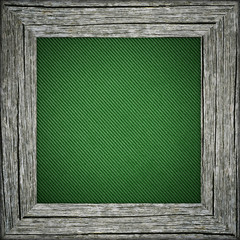 Old frame with green striped canvas
