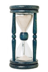 blue hourglass over white