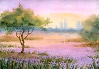 Purple mist over the lake