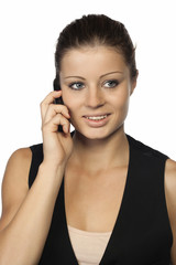 Beauty woman and mobile phone