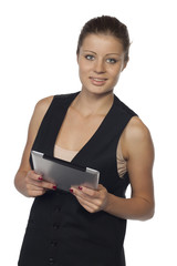Beauty woman and tablet