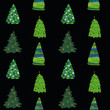 pattern of different Christmas trees