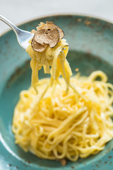 Dish of pasta with truffle