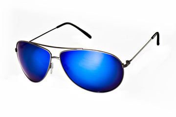 Sunglasses with blue glasses on a white background