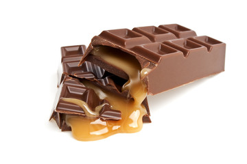 Chocolate bar with caramel isolated on white background